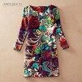 Novas Mulheres Se Vestem Primavera Outono Impressão Moda Vestido Vestidos Femininos Vestido Estampado Plus Size 2016 Mulher Vestido de Inverno Casuais
