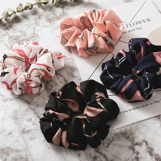 Flamingo Floral Solid Houndstooth Design Women Hair Accesorios No Crease Hair Tie Scrunchie Ponytail Hair Holder Rope