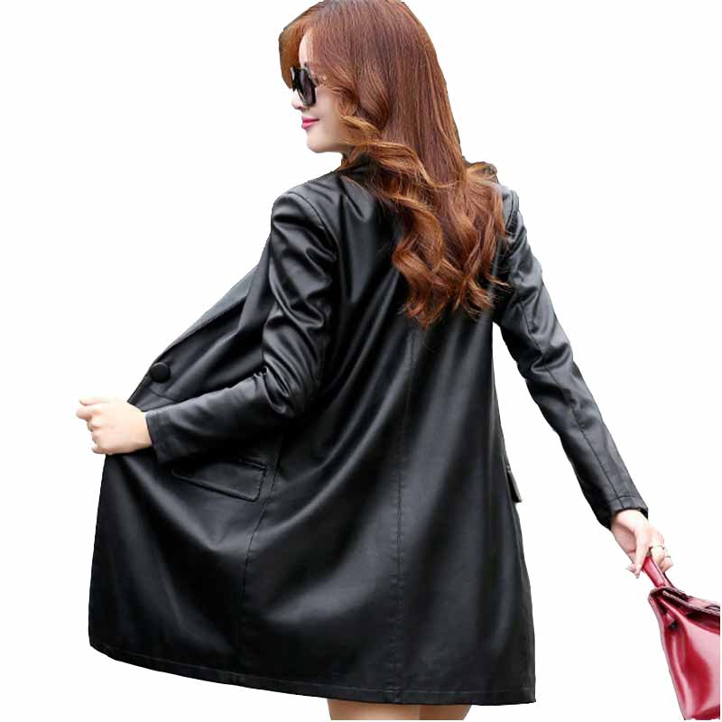 Leather   jacket women 2018 spring autumn black PU   Leather   Plus size 5XL red   Leather   clothes locomotive   Leather   tops IOQRCJV H459
