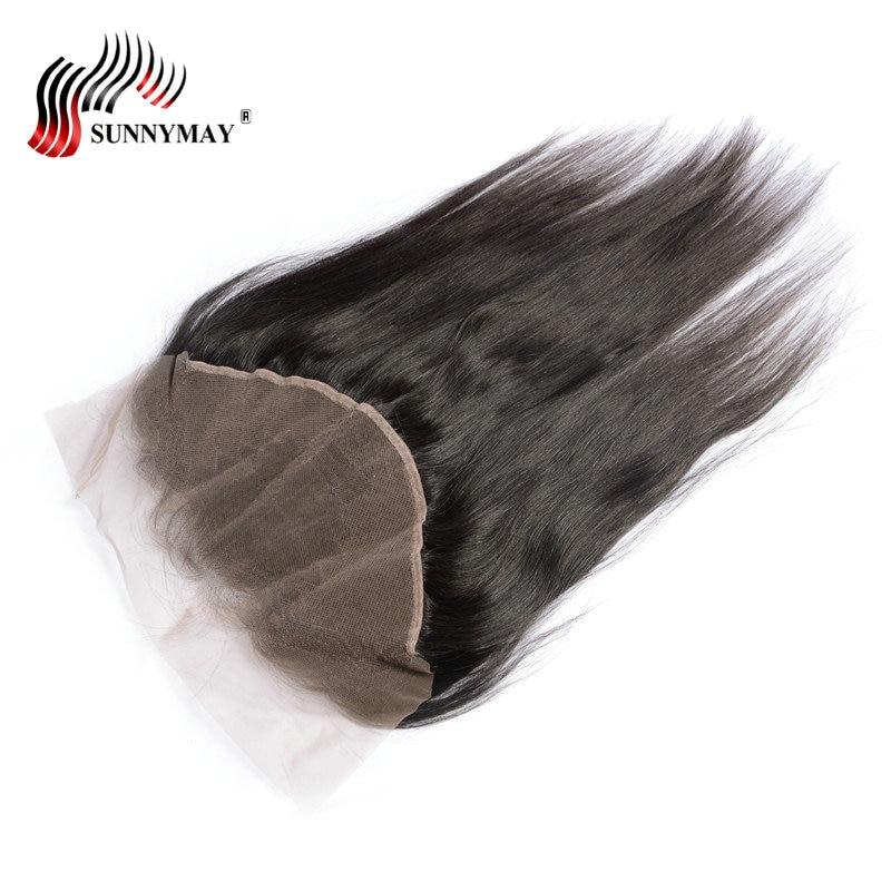 Sunnymay Brazilian Virgin Hair Ear to Ear 13x6 Lace Frontal Closure - Rambut manusia (untuk hitam)