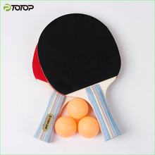 PTOTOP Table Tennis Racket Two Long/Short Handle Ddouble Pimples-in Rubber Pingpong Rackets and Three Balls