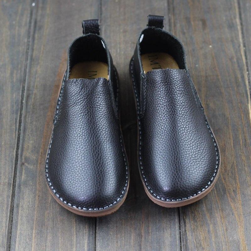 Chaussures pour femmes en cuir véritable femmes chaussures plates bout rond sans lacet mocassins chaussures noir et blanc printemps chaussures de conduite
