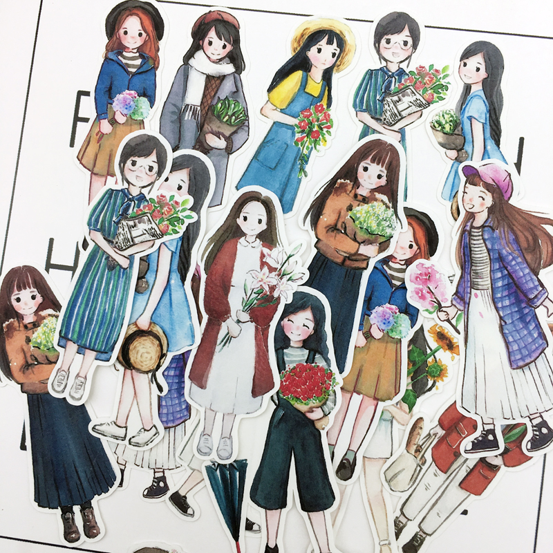 28pcs Hand Drawing Watercolor Cute Girls Planner Journaling Stickers Scrapbooking DIY Dry Glue Sticker Cartoleria Kawaii