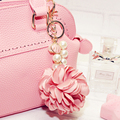 Camellia Pearl Chain Keychain Bag Pendant Car Ornaments Creative Gifts Bag Flower Charm Key Chain Buckle Key Ring 8 Colors F1