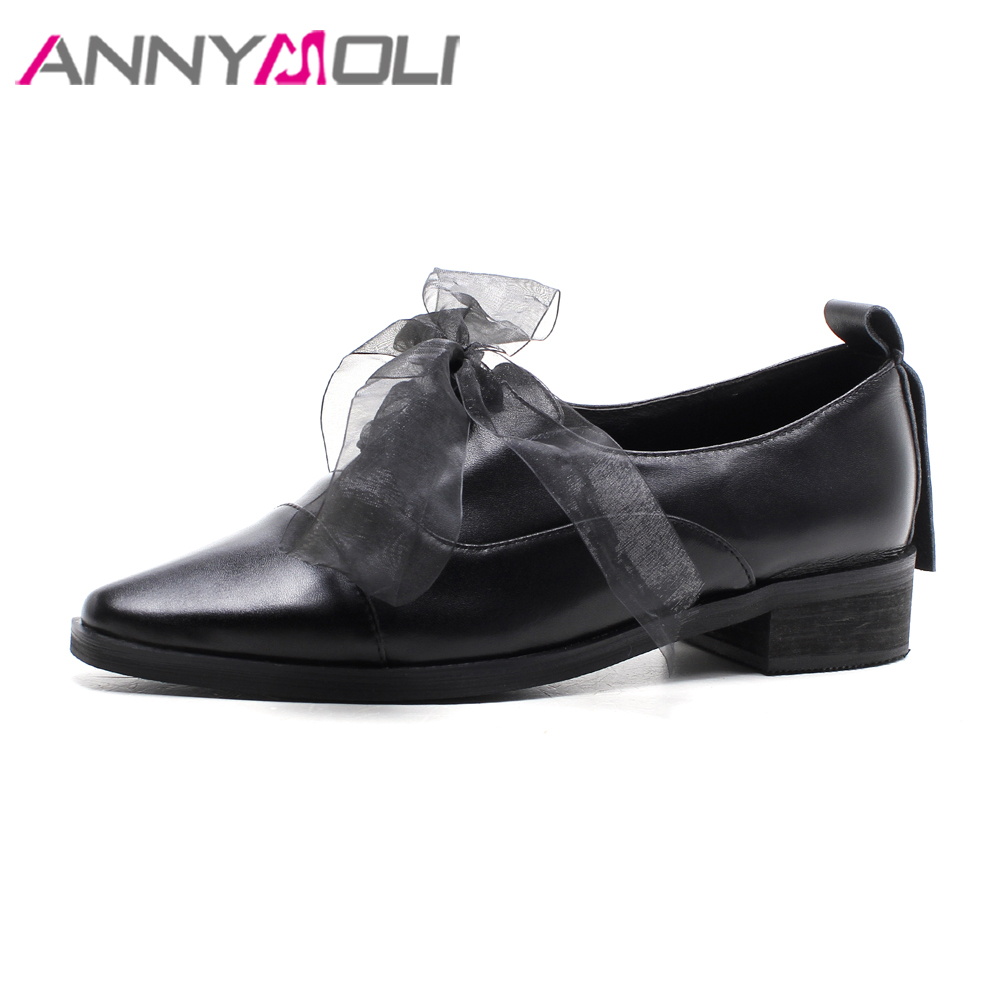 ANNYMOLI Flat Shoes 2018 Genuine Leather Women Shoes Lace Casual Bow Slip On Flats Pointed Toe Shoes Black Large Size 9 42 43 beyarne spring summer women moccasins slip on women flats vintage shoes large size womens shoes flat pointed toe ladies shoes