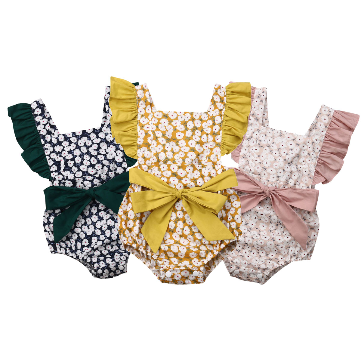 2019 New Toddler Baby Girls Ruffles   Romper   Infant Newborn Baby Bow Jumpsuit Summer Flower Baby Girls Clothes Baby Costumes