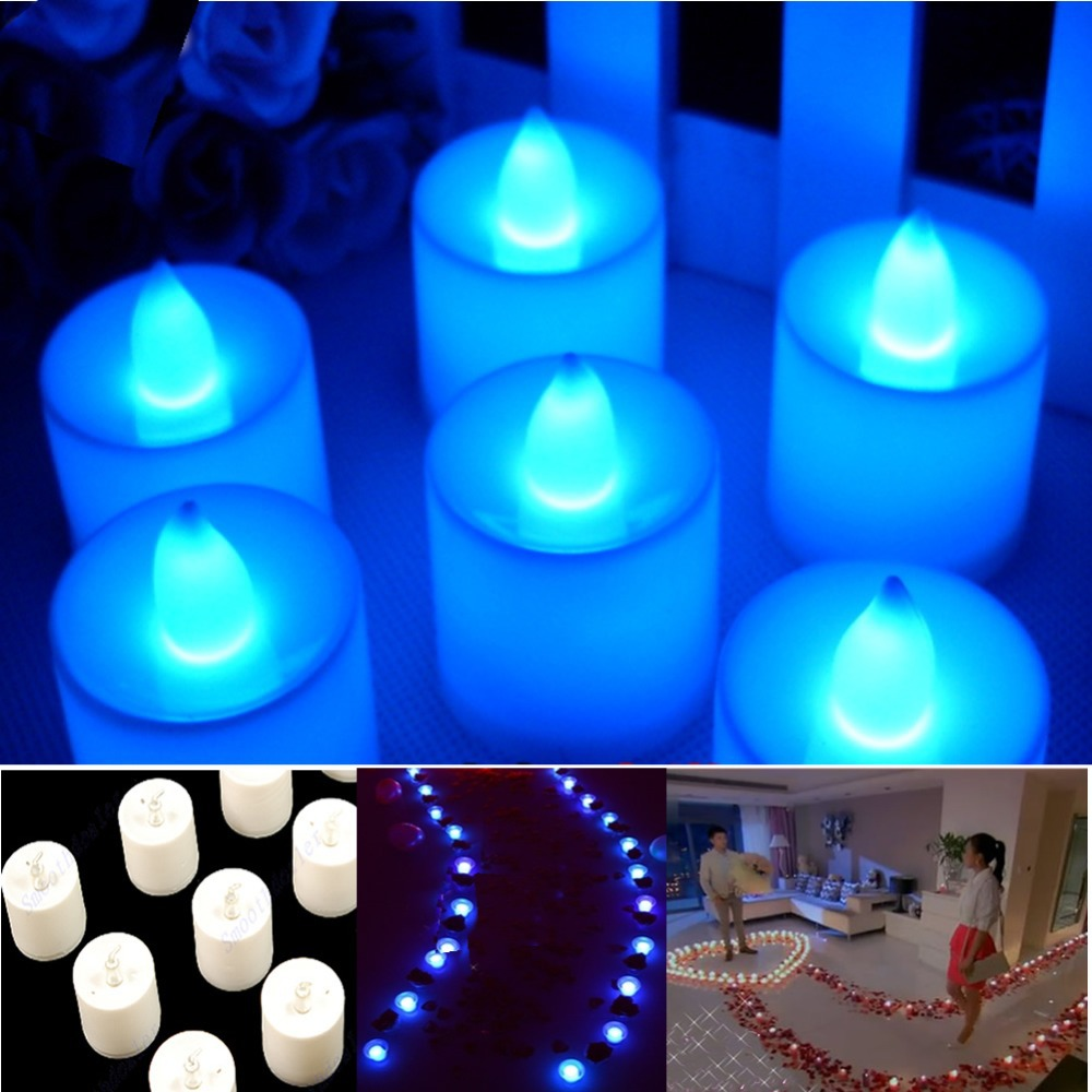 Blue Tea Lights LED Candle Flickering Flameless Candles Wedding Party Light