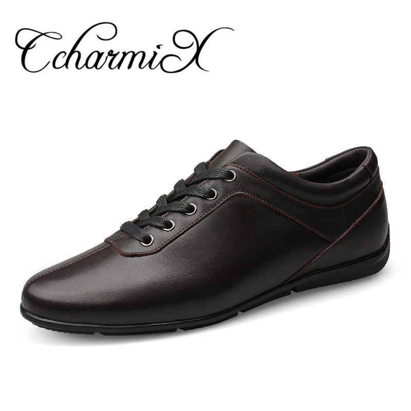 CcharmiX Large Size 36~47 Full grain leather men casual shoes handmade fashion comfortable breathable men genuine leather shoe branded men s penny loafes casual men s full grain leather emboss crocodile boat shoes slip on breathable moccasin driving shoes