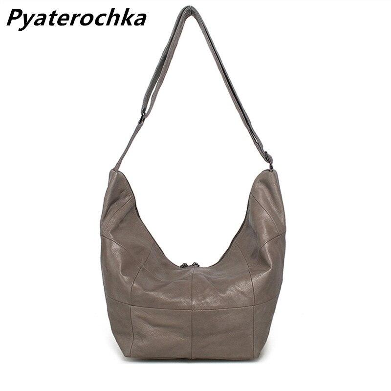 15b0fefb Pyaterochka mujeres Hobo bolsos de mano de cuero genuino mensajero bolsa  cruzada suave grande Plaid ...