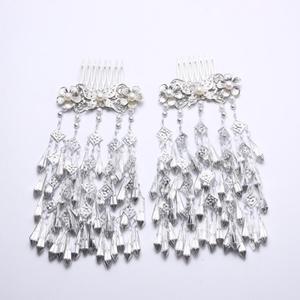 Image 5 - Kostüm Hanfu Headdress Retro saç aksesuarları uzun çok katmanlı küçük taze saçak takı taklit Miao gümüş ekle tarak