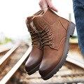 Diseñador de Zapatos de Cuero de invierno Marrón Café Mens Atan Para Arriba botas para la Nieve de Arranque Pisos Martin Botas de Costura Gruesa antideslizante Bottoms Calzado