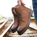 Winter Designer Leather Shoes Brown Coffee Mens Martin Boots Sewing Lace Up Male Snow Flats Boot Thick Non-slip Bottoms Footwear