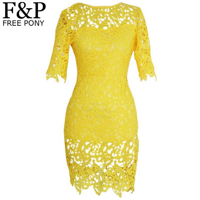 Plus Size Brazil Yellow Crochet Lace Bandage Bodycon Dress Womens