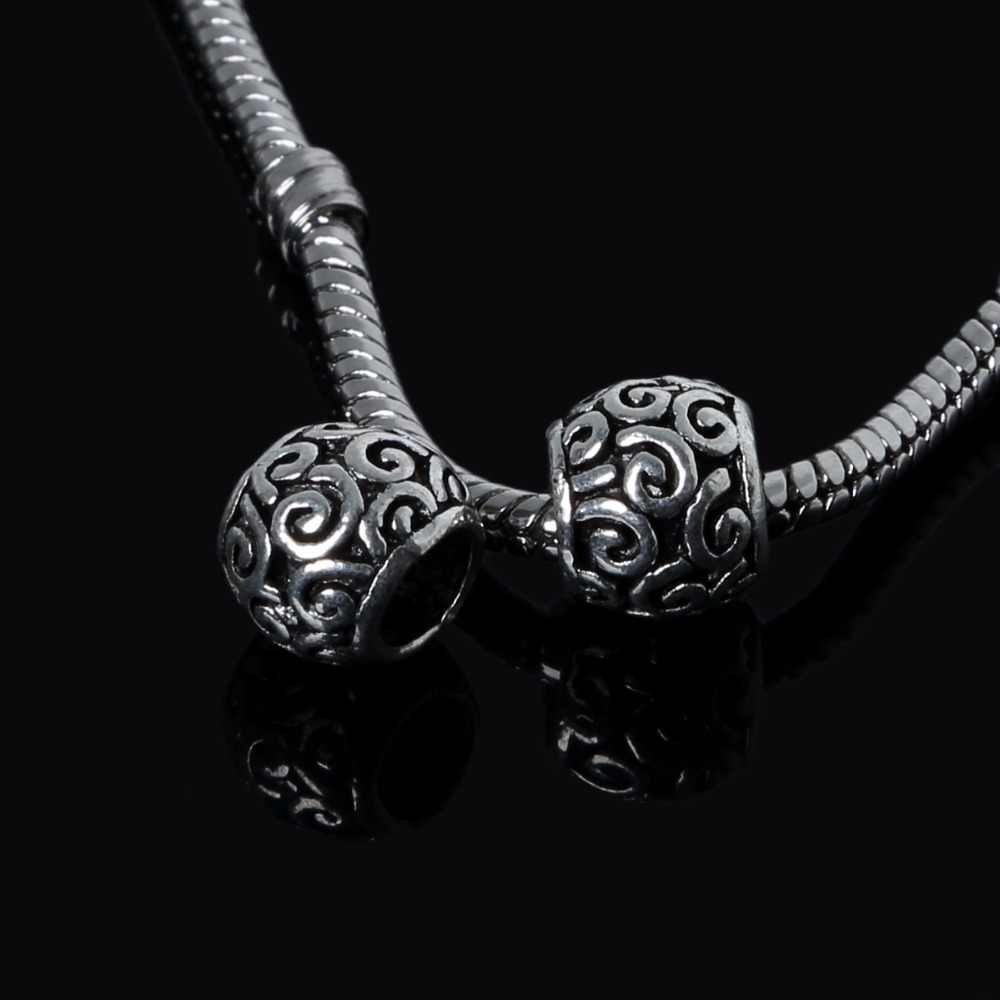 9*10mm 10pcs Antique Silver Plated Oval DIY European Big Hole Beads Charm For Bracelets necklaces Making Jewelry Accessary