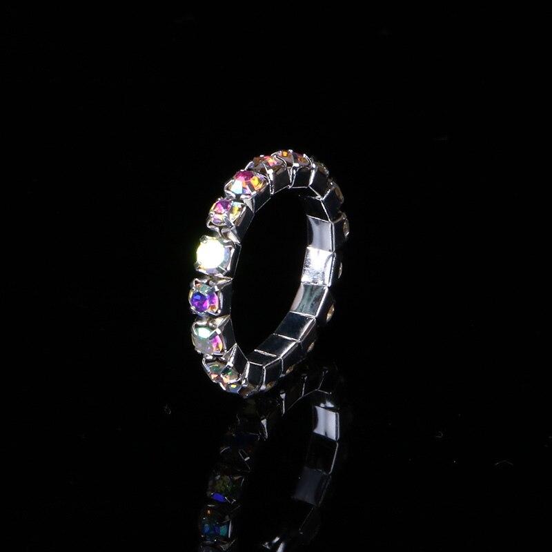 TDQUEEN 1-5 Rows AB Crystal Stone Rings Silver Plated Bridal Wedding Rhinestone Elastic Stretch Rings for Women (3)