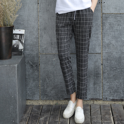 2016 Nova Primavera Casual de Algodão Solto Harem Pants Plus Size Bolsos Senhora Primavera Calças Harem Pants Soltas Capris xadrez Grade Preta calças