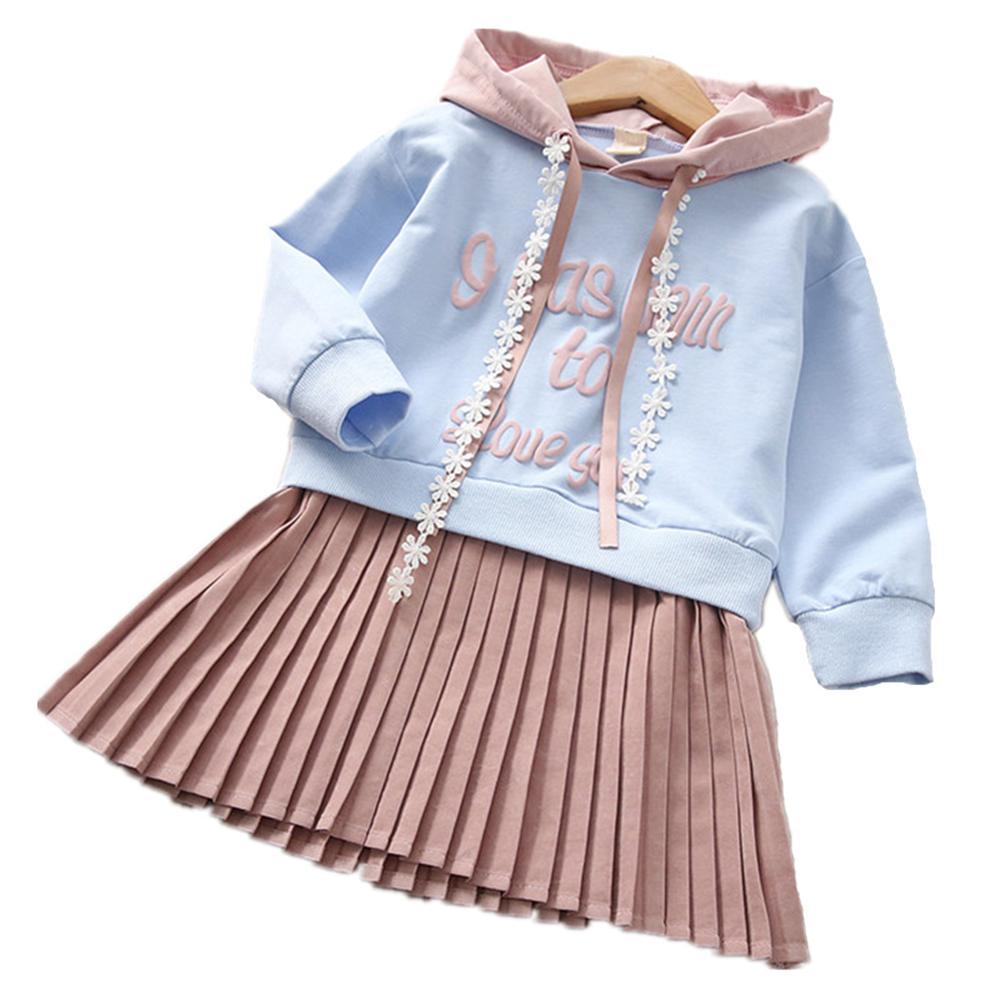 Children Spring Autumn Girl Hoodies Sweater Stitch Dress Cotton Hooded Sweatshirts Cute  ...
