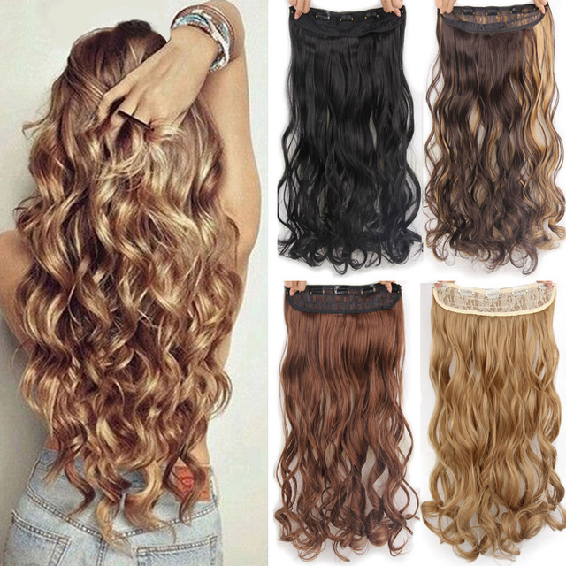 "AISI HAIR 22"" 17 Colors Long Wavy High Temperature Fiber Synthetic Clip in Hair Extensions for Women 1"