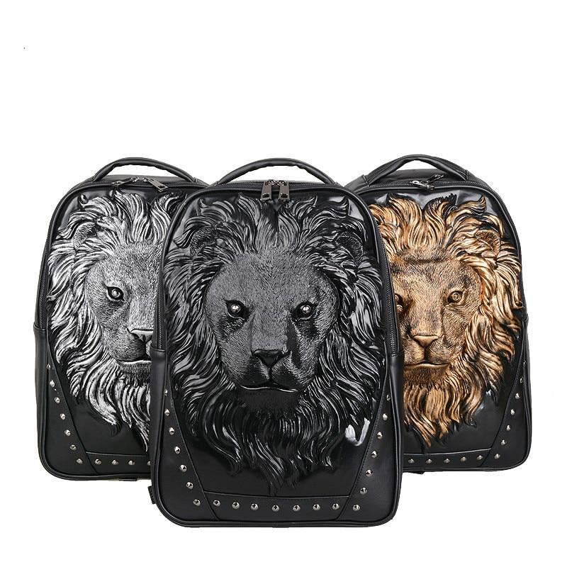 Sac Livraison Bandoulière À Gratuite Dos Black Animale Arrivée Voyage De Hommes gold Personnalité Mode 3d silver Silicone Pour Nouvelle Tête Lion wgYq4fx