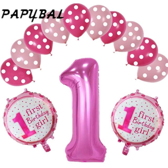 13 Stks Partij 1 Jaar Oude Baby Shower Ballonnen Verjaardag Helium