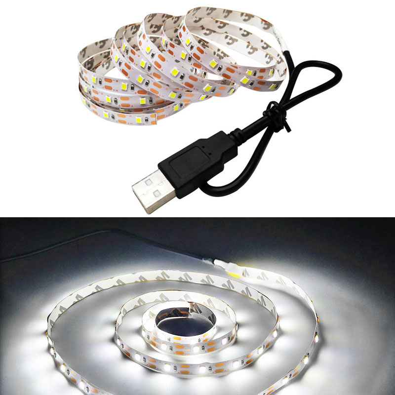 Led Strip RGB 3528 SMD 5V 1M/2M/3M/4M/5M Color Change With USB 24KEY IR Controller For TV Background Lighting Decor Nowaterproof