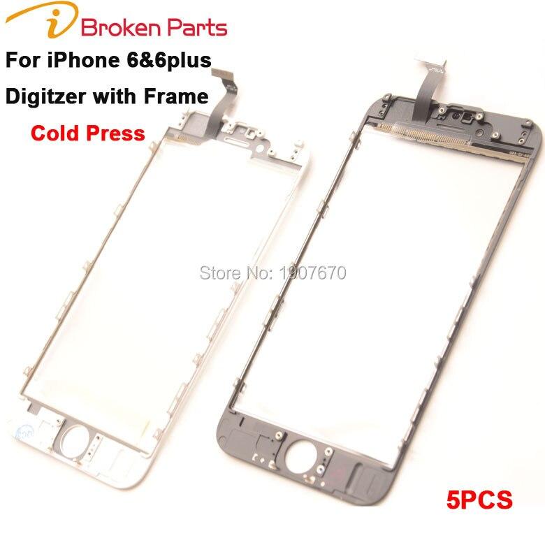 imágenes para 2 en 1 máquina de prensado en frío panel de la pantalla táctil con el marco para iphone 6 6g frontal exterior de la pantalla digitalizador con marco para iphone 6 plus vidrio
