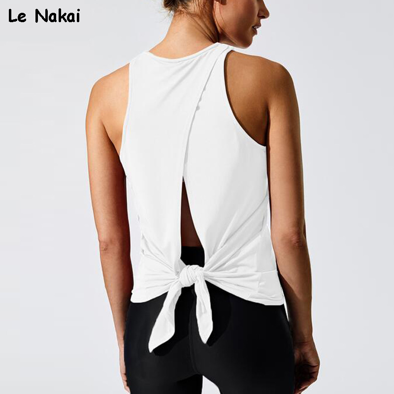 High Quality Women Sleeveless Yoga Shirts Vest Fitness Top Shirt Solid Loose Gym Tank Tops Backless Running Training Sportswear