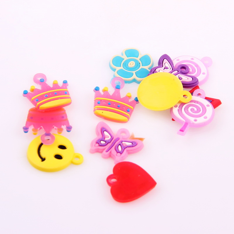 New 10pcs Mixed Designs Hand-Knitted Bracelet Rubber Loom Bands Charms Pendants For Kids DIY Loom Bracelets Key Chains