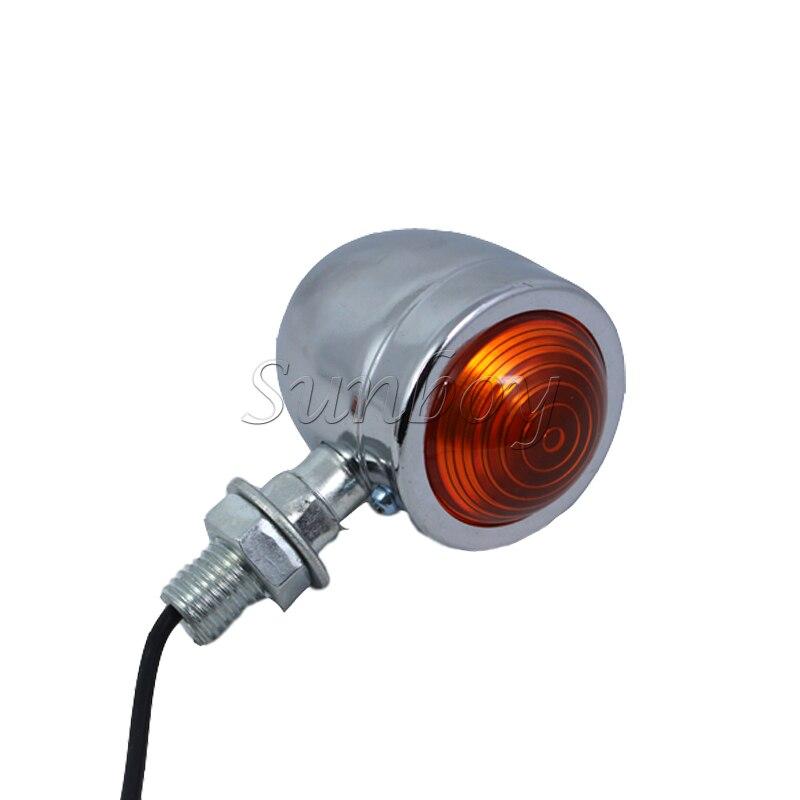 Chrome 2pcs Motorcycle Bullet Turn Signal Light Amber Lens For Honda Shadow Sabre VF700 VT750 1100 Yamaha Suzuki Kawasaki Harley