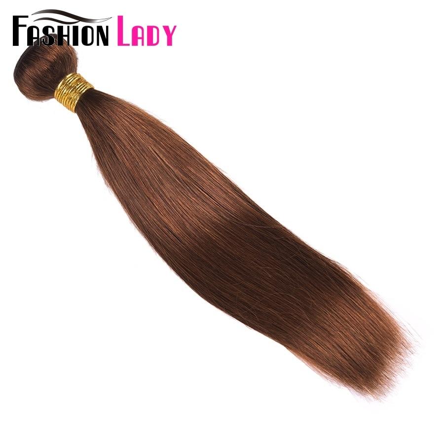 Image 2 - FASHION LADY Pre Colored One Piece Brazilian Straight Hair 100% Human Hair Weave #4 Medium Brown Human Hair Bundles Non RemyHair Weaves   -