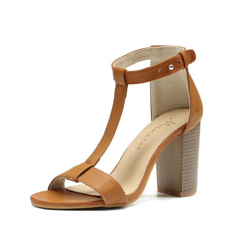 2018 Fashion Summer Shoes Woman Buckle Strap High Heel Shoes PU Leather Women Pumps Shoes sandales femme zapatillas mujer