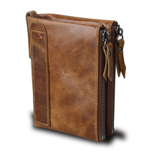 Hot!! Crazy Horse Genuine Leather Men Wallets Credit Business Card Holders Double Zipper Cowhide Leather Wallet Purse Carteira(China)