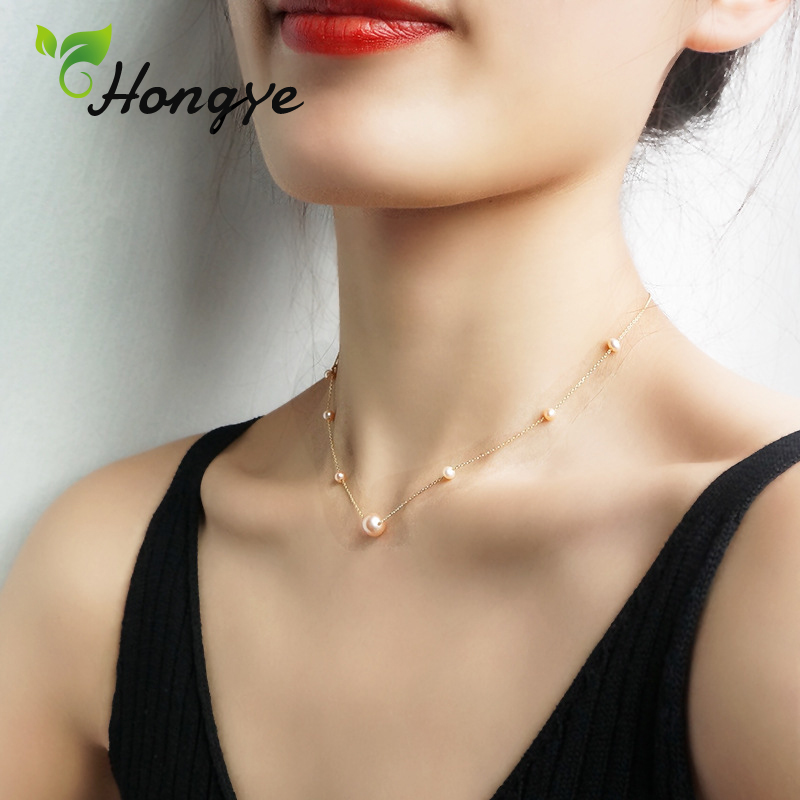 Hongye Pearls Necklace Jewelry Girls Elegant Sterling Silver 925 Freshwater Pearl 18k Gold Jewelery Collar Accessories for Girls