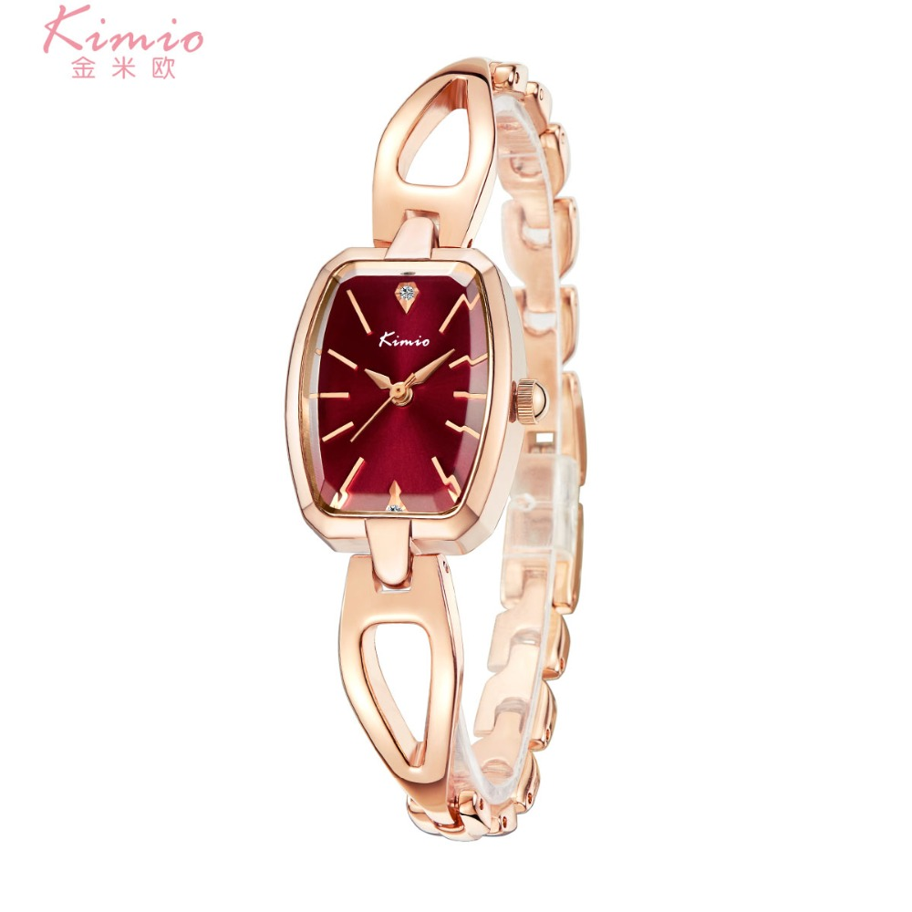 2018 New Hot Sale Kimio Tonneau Ladies Watch Women Skeleton Female Wrist Quartz Bracelet Strap Luxury Brand Rose Gold Clock Gift kevin vintage paris eiffel tower dial wrist watch women ladies girl quartz watches gift for girlfriend black strap clock hot