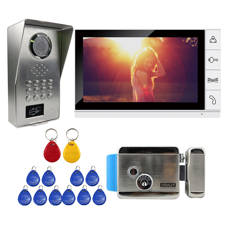 Grenseure FREE SHIPPING 9 LCD White Monitor Video Intercom Door Phone Kit RFID Code Keypad Unlock Outdoor Camera Electric Lock grenseure free shipping 9 lcd monitor video intercom door phone system rfid code keypad outdoor camera electromagnetic lock