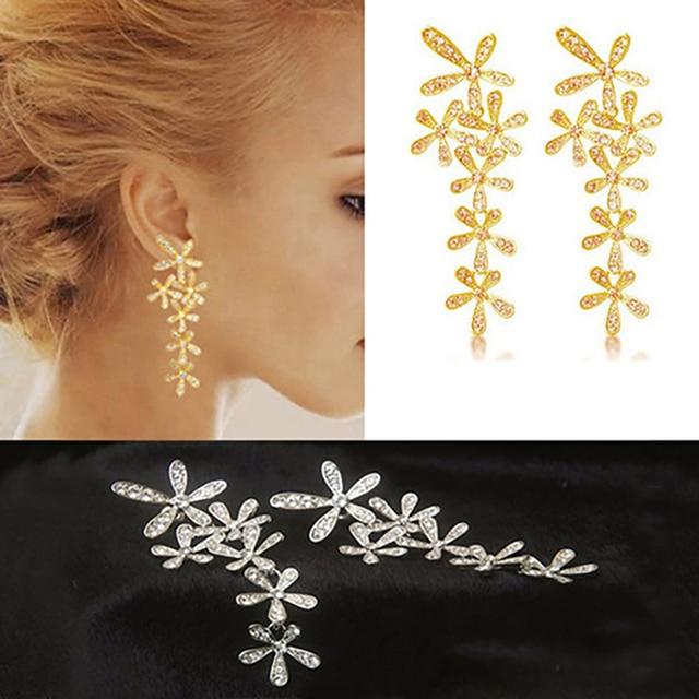 FAMSHIN Women 2016 New Fashion Full Rhinestone Crystal Long Snowflake Flower Dan