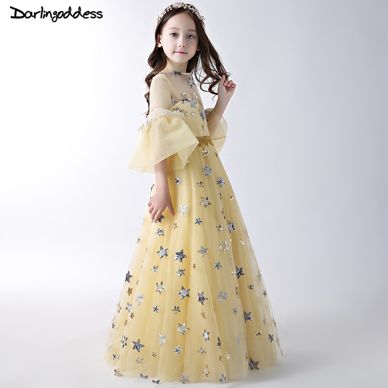 Luxury Sequins   Flower     Girl     Dresses   2018 Long Sleeves   Flower     Girl     Dresses   for Weddings Party   Dress   Yellow Pageant Communion Gowns