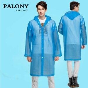 Image 2 - ファッション女性男性エヴァ透明レインコートポータブルアウトドア旅行レインウェア防水キャンプフード付きポンチョプラスチック雨カバー