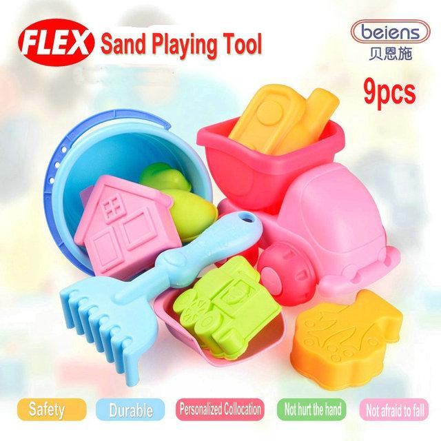 9 pçs/set marca de alta qualidade Super macio PP plástico brinquedo do banho do bebê areia ferramenta de jogo para crianças brinquedos de praia crianças verão brinquedos ao ar livre