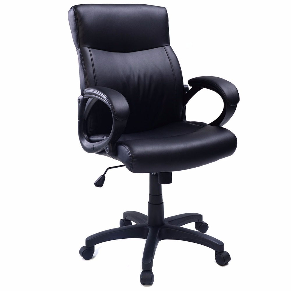 style pu leather ergonomic computer desk task office chair black cb10052