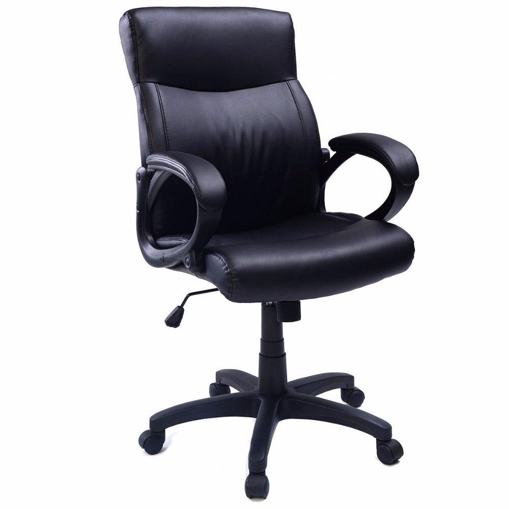 Goplus Black PU Leather Ergonomic Computer Desk Task Office Chair High Back Modern Swivel Gaming Chair CB10052
