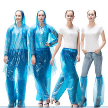 цена на Blue Clear Raincoat Hooded Women Long Rain Coat Waterproof Rain Coat Pants Suit Impermeable Transparente Regenmantel 50yc17