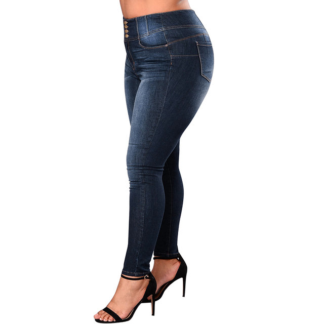Romacci Women 5XL Plus Size Jeans Feminino Casual Push Up Denim Jeans Strech High Waist Skinny Pants Slim Fit Bodycon Trousers