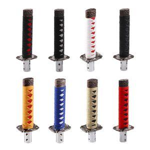 Image 2 - Модный 1 комплект, универсальный самурайский меч, автомобильная ручка переключения передач, катана, металлический Утяжеленный Спортивный рычаг переключения передач, 4 адаптера, автомобильные аксессуары