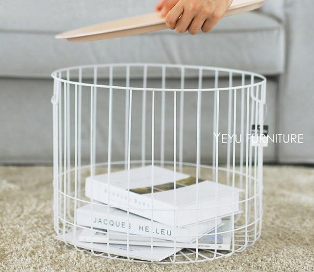 Minimalist Modern Design Loft Style Storage Side Table, Metal Wire Storage  Tea Table Multifunction Coffee Table, Bedside Table