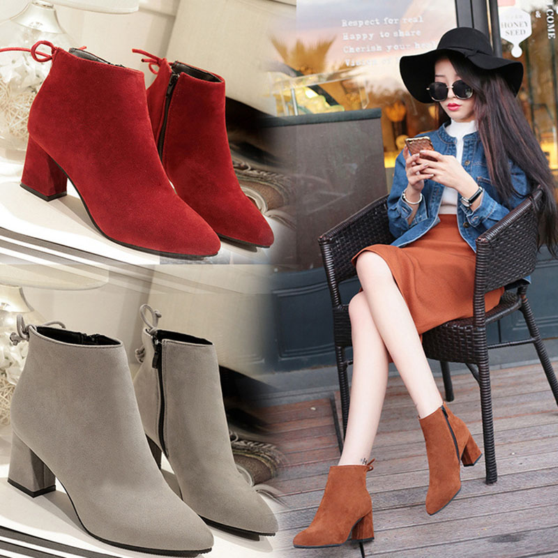 Masorini 2018 Women Boots Flock Ankle Boots Round Toe Winter Women Boots Ladies Western Stretch Fabric Boots Big Size W-186 1