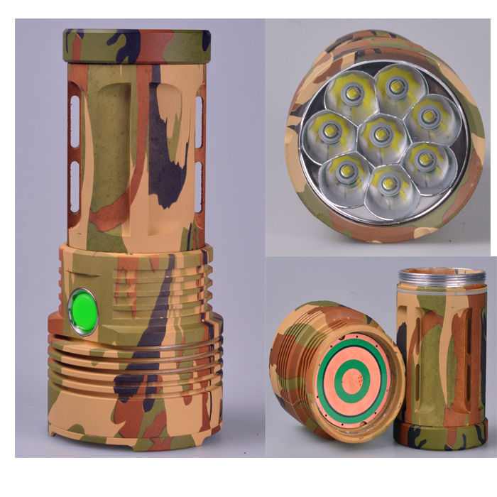 Skyray Led Flashlight 10000 Lumens 8x CREE XM-L T6 LED Waterproof 18650 rechargeable battery Camouflage hunting camping Torch 8200 lumens flashlight 5 mode cree xm l t6 led flashlight zoomable focus torch by 1 18650 battery or 3 aaa battery
