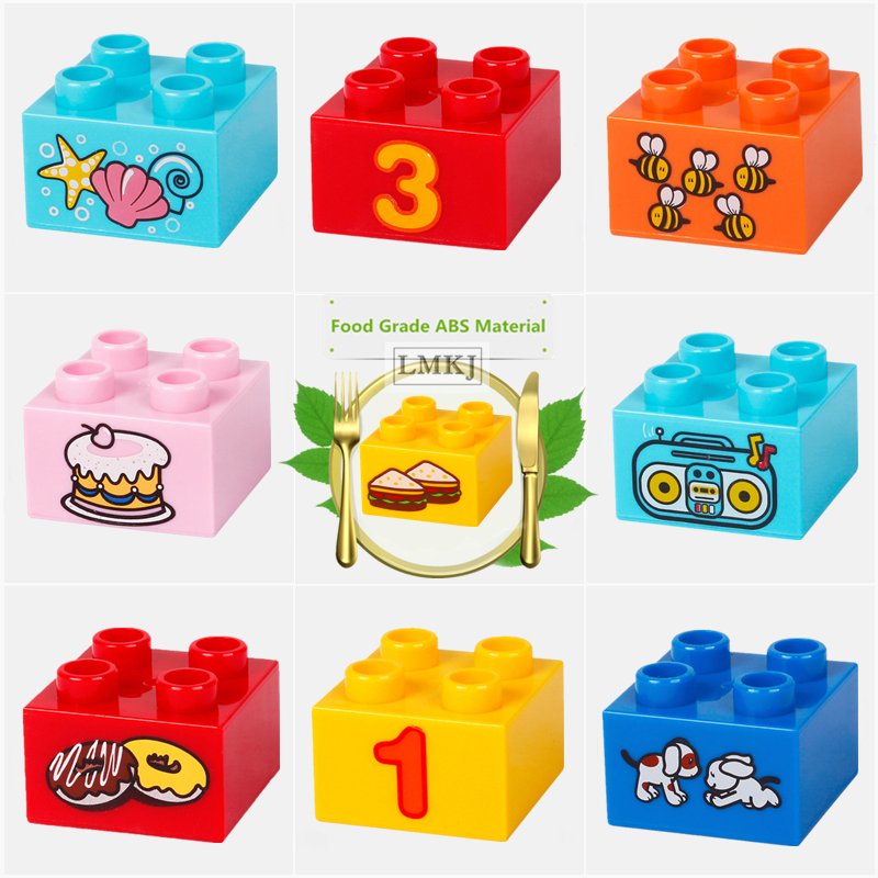 DIY Big Size Duploe Toys For Children Number Animals Bee Dog Foods Cake Fruit Pattern Bricks Building Blocks Parts