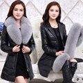Clothing de couro couro genuíno para baixo casaco feminino 2016 pele de raposa pele de médio-longo plus size fino outerwear