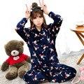 Woman Autumn Spring Cotton Pajama Sets Long Sleeve Turn Down Collar Lovely Pajam Suit Sleep Wear Homewear Clothes  Pyjama Femme